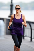 MANHATTAN - AUGUST 11:  Heidi Klum goes for an early morning Jog with her bodyguard on AUGUST 11, 2012 in New York City, New York