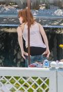 Emma Stone in a Bikini by the Hotel Pool in Rio