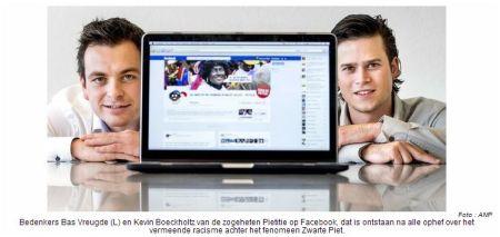 Bedenkers Bas Vreugde (L) en Kevin Boeckholtz van de zogeheten Pietitie op Facebook